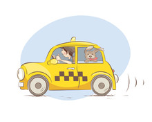 Cheerful Taxi / Girl Driver And Pet Friendly Taxi, Vector Illustration.