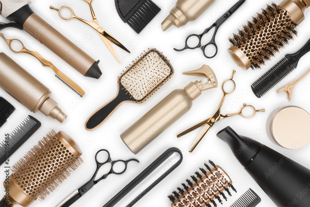 Fototapeta Full frame of professional hair dresser tools on white background