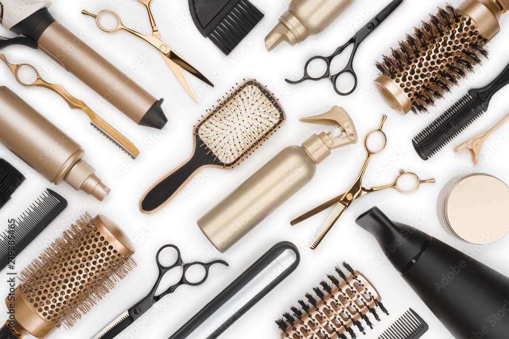 Fototapety, obrazy: Full frame of professional hair dresser tools on white background
