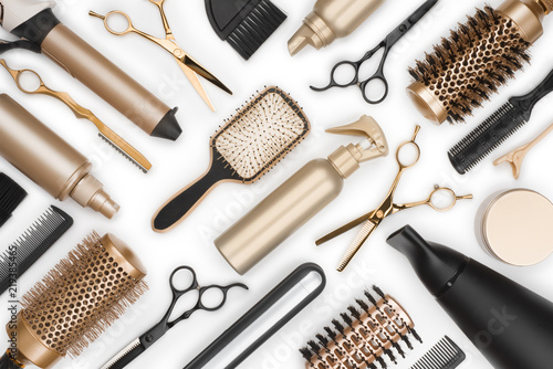 Obraz Full frame of professional hair dresser tools on white background - fototapety do salonu