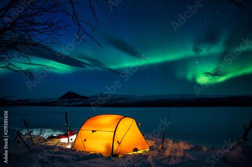 Winter Camp auf dem Kungsleden mit Nordlichtern