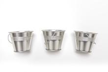 Three Small Empty Metal Bucket...