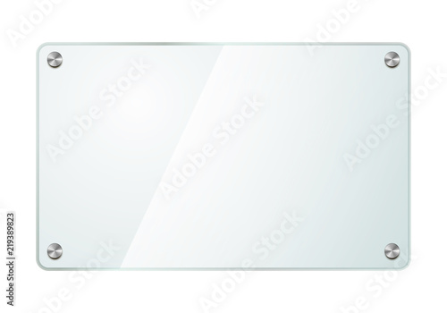 Realistic glossy glass plate with metal screws isolated on white Canvas Print