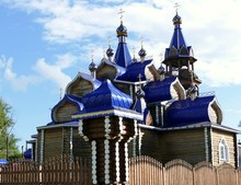 Russian Orthodox Wooden Church With A Blue Roof Near Votkinsk, Udmurtia, Russian Federation