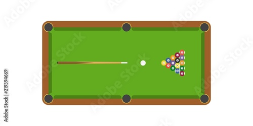 Photographie Snooker or billiard table and cue stick and billiard ball, flat design