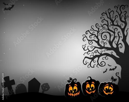 Halloween tree half silhouette theme 4