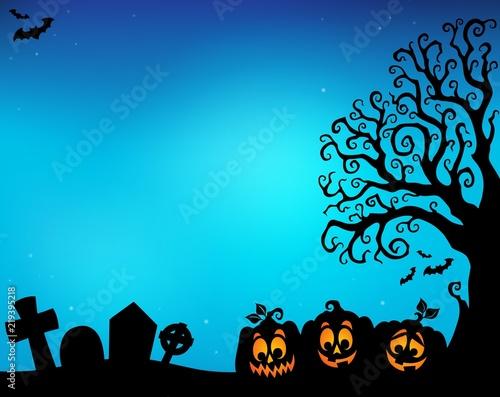 Halloween tree half silhouette theme 5