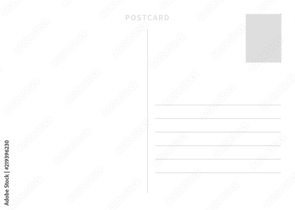 Fototapeta White simple postcard template with place for stamp and address