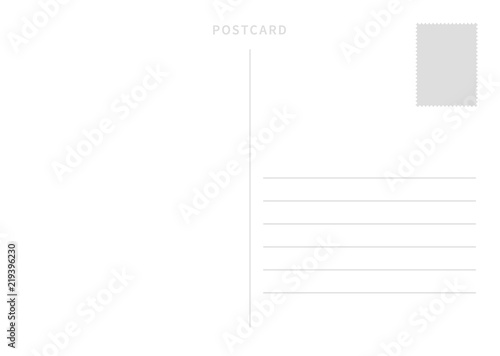 Cuadros en Lienzo White simple postcard template with place for stamp and address