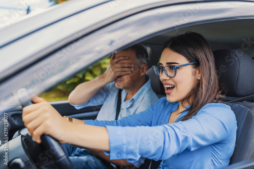 Woman Driver - Car Accident, yells in fear or frustration