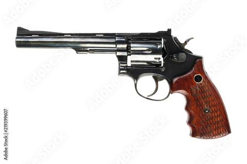 Fototapeta isolated used old black revolver on a white background