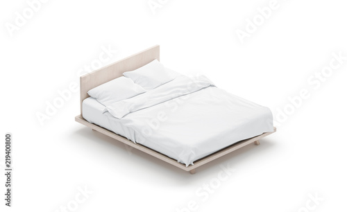 Fotomural Blank white bed mock up, side view isolated, 3d rendering