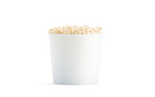 Blank White Popcorn Bucket Mockup Isolated, 3d Rendering. Clear Pop Corn Pail Mockup Fastfood Front Side View. Paper Snack Bucketful Design Mock Up. Clear Basket Box Template.