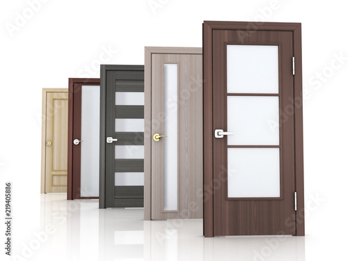 Row five doors on white background Wallpaper Mural