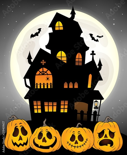 Door stickers For Kids Haunted house silhouette theme image 8
