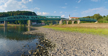 Dry Riverbed Of River Elbe In Decin, Czech Republic. Castle Above Old Railway Bridge
