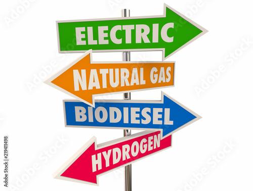 Fotografie, Obraz  Electric Alternative Power Fuel Natural Gas Biodiesel Hydrogen Arrow Signs 3d Il