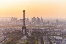 France, Paris, City With Eiffel Tower At Sunset