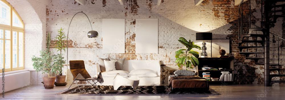 Fototapety, obrazy: vintage brick loft apartment with empty canvas