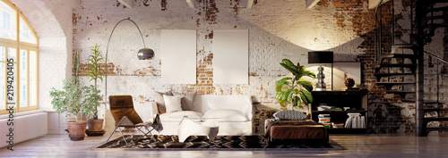 Photo Stands Retro vintage brick loft apartment with empty canvas