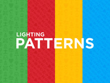 Four Different Lighting Seamless Patterns With Thin Line Icons: Bulb, LED, CFL, Candle, Table Lamp, Sunlight, Spotlight, Flash, Candelabrum, Bonfire, Menorah, Lighthouse. Modern Vector Illustration.