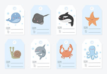 Vector Collection Of Tags With Cute Sea Animals In Pastel Colors