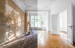 canvas print picture - renovation concept - apartment before and after restoration or refurbishment