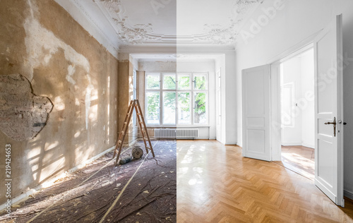 Obraz renovation concept - apartment before and after restoration or refurbishment - fototapety do salonu