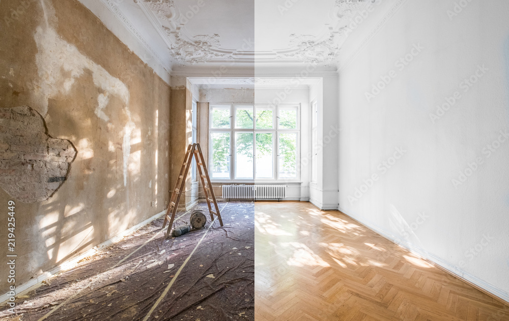 Fototapety, obrazy: apartment renovation - empty room before and after  refurbishment  or restoration