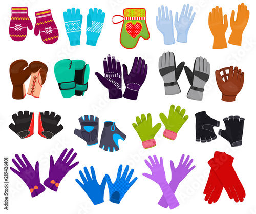 Glove vector woolen xmas mittens and protective pair of gloves illustration set Wallpaper Mural