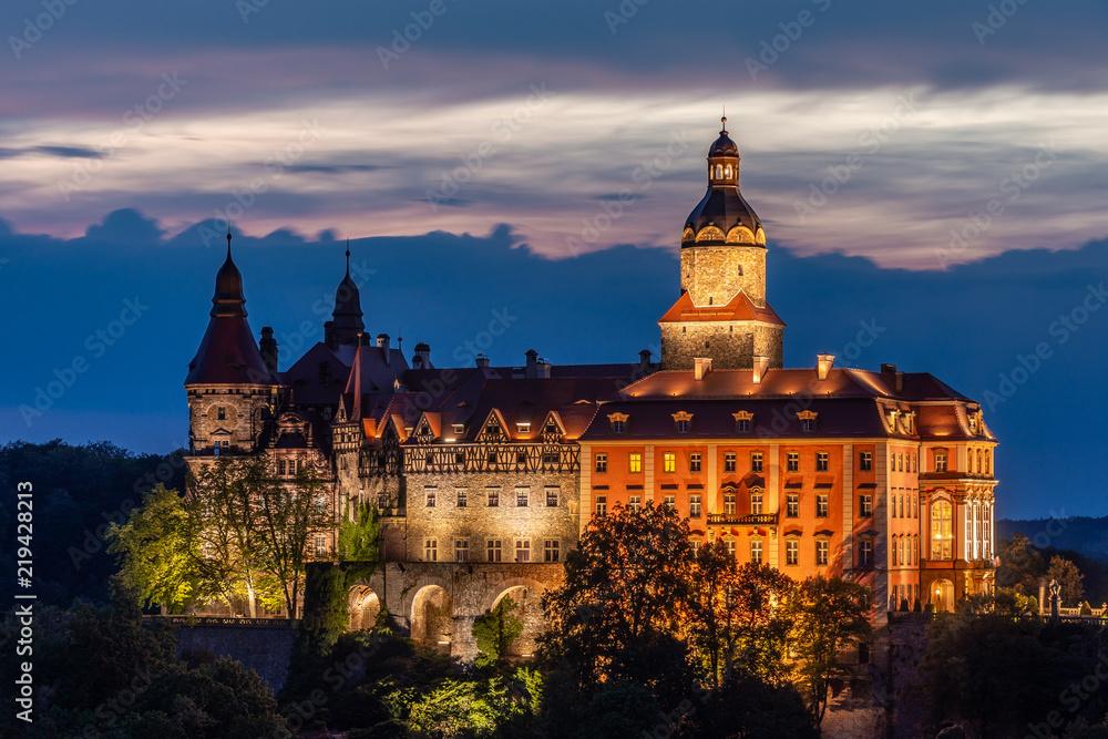 Fototapety, obrazy: Ksiaz Castle at night - Poland