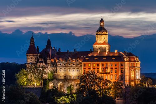 Obraz Ksiaz Castle at night - Poland - fototapety do salonu