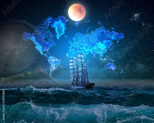 Keuken foto achterwand Schip Four-masted bark in the ocean, lit by the moonlight. Geographical map of the earth against the background of the starry sky.