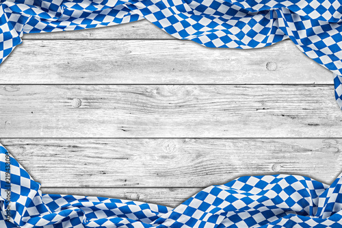 Vászonkép bavaria white wooden rustic wood background with bavarian flag empty copy space