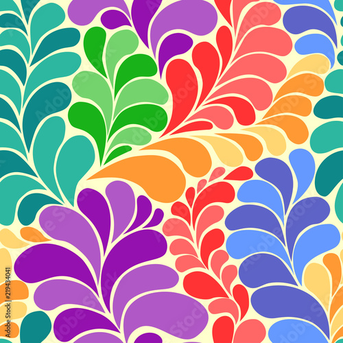 Fotografía  Abstract vibrant hippie 60s seamless vector pattern