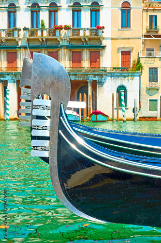 Poster Gondolas Rostrums of moored gondolas