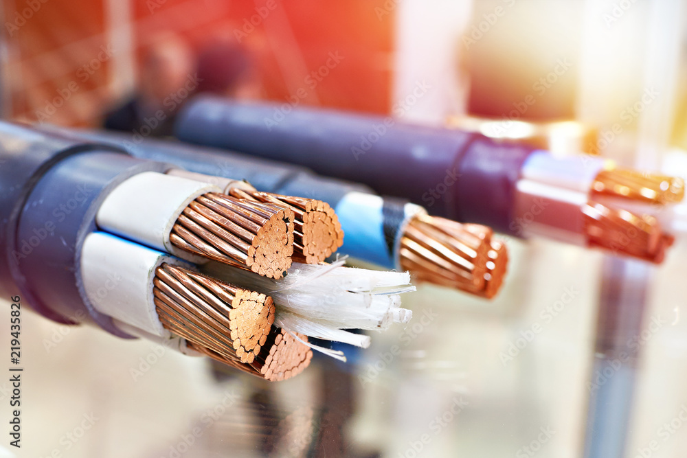 Fototapeta Large copper power cable in section