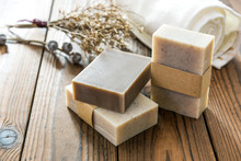 Handmade Natural Soap On Woode...