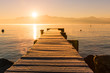 Sunrise over Frozen Wood Pier, Leman Lake and Iconic Snowy Mont-Blanc.