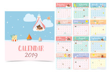 Cute Monthly Calendar 2019 With Bear,girl,rabbit,monkey,sheep,star,cloud,moon And Balloon.Can Be Used For Web,banner,poster,label And Printable