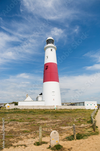 Portland Bill Lighthouse on a Bright Sunny Day with Blue Sky.