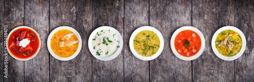 Valokuva Set of soups from worldwide cuisines, healthy food