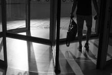 Revolving Door In Black And White