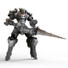 Robot Warrior Holds A Large La...