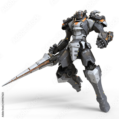 Photo  Robot warrior with a large lance in one hand
