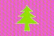 Leinwanddruck Bild - 3d christmas tree on pink background with green stars