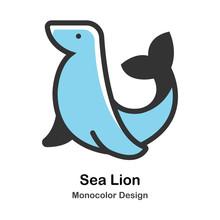 Sea Lion Monocolor Illustration