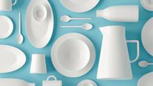 White Tableware Flatlay Layout