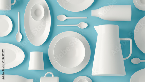 Photo  White tableware flatlay layout