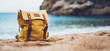 Hipster swimming mask on background blue sea ocean horizon, hiker tourist yellow backpack on sand beach, blurred panoramic seascape blank, traveler relax holiday concept, view in trip vacation